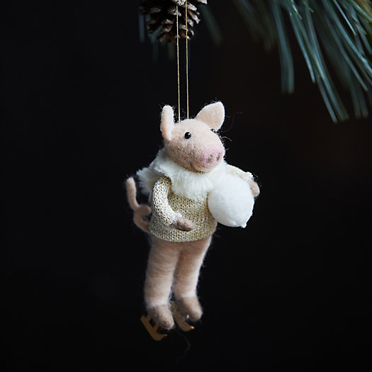 View larger image of Ice Skating Pig Felt Ornament