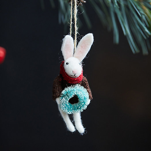 View larger image of Bunny with Wreath Felt Ornament