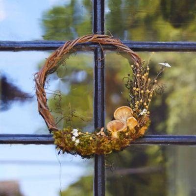 Asymmetrical Mushroom + Moss Wreath