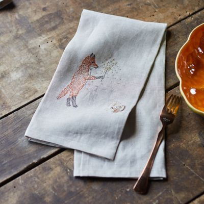 Woodland Friends with Sparklers Linen Dish Towel