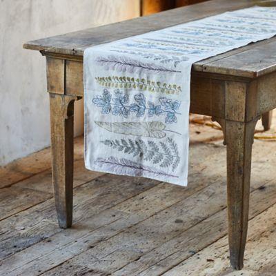 Stems Embroidered Linen Runner