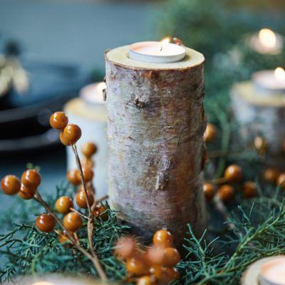 Birch Tea Light Holders, Large Set of 12