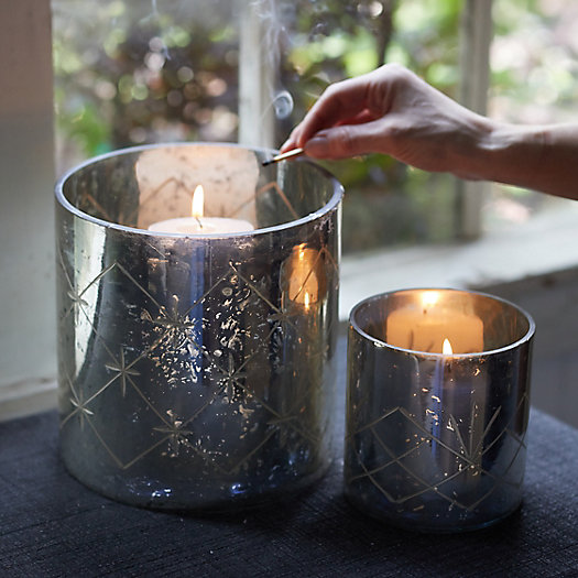 View larger image of Diamond Etched Mercury Glass Hurricanes, Set of 2