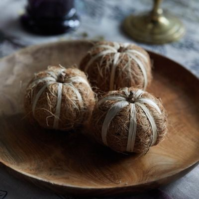 Dried Coco Fiber Pumpkins, Set of 3