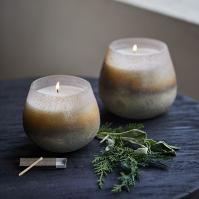 Textured Metallic Candle, White Cedar + Sage