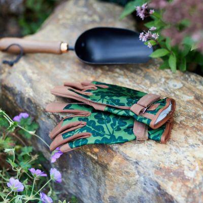 Leather Trim Garden Gloves, Oak Leaf + Moss