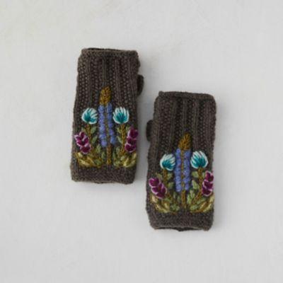 Fleece Lined Mohair Handwarmers, Meadow