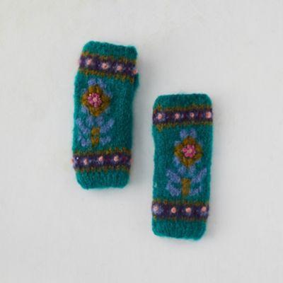 Fleece Lined Mohair Handwarmers, Blue Floral