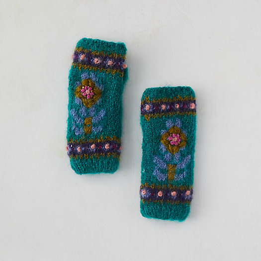 View larger image of Fleece Lined Mohair Handwarmers, Blue Floral
