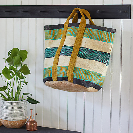 View larger image of Striped Jute Tote Bag