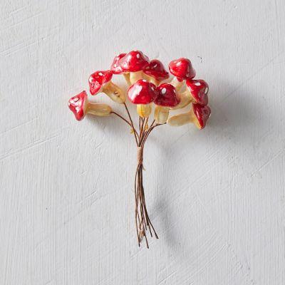 Red Cap Mushrooms, Set of 10