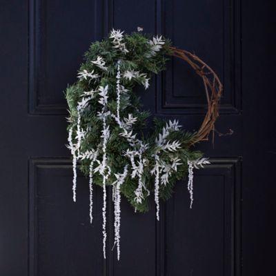 Fresh Fir + Hanging Amaranth Asymmetrical Wreath