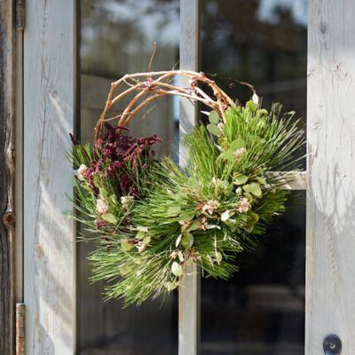 Right Side Hand Fresh Ponderosa Pine + Dried Florals Wreath