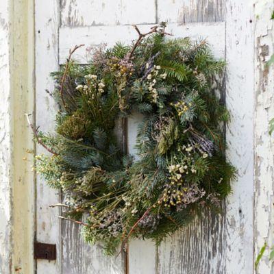 Fresh Noble Fir, Apple Branch, Flax + Lavender Wreath