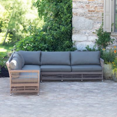 The Look Trellis Weave Wicker Sofa Corner Chair Sectional Seating