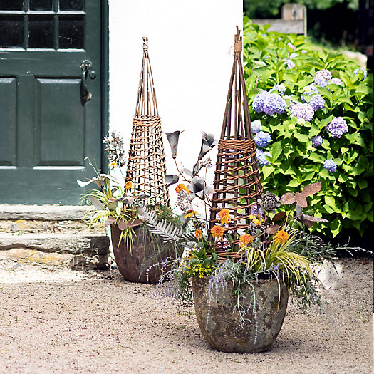 View larger image of Willow Garden Obelisks + Barnacle Planters