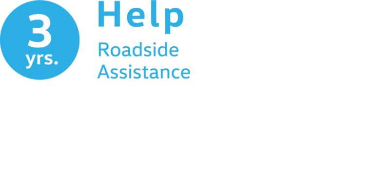 An icon shows 3 years of VW roadside assistance in blue.