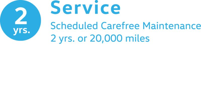 An icon shows 2 years of VW scheduled carefree maintenance in blue.