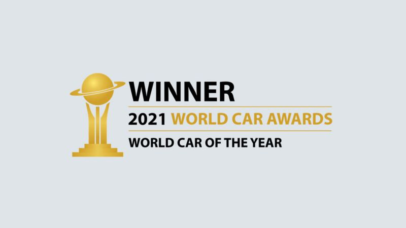 """Stylized 2021 World Car Awards logo and type treatment that reads """"Winner"""" of """"World Car of the Year"""""""