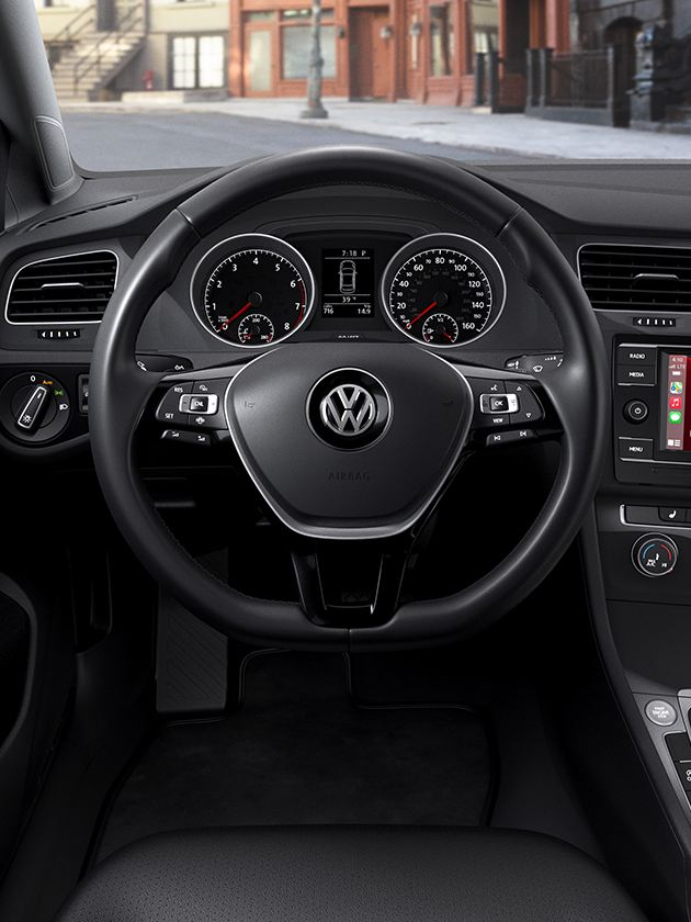 Interior driver point-of-view of the Volkswagen Golf.
