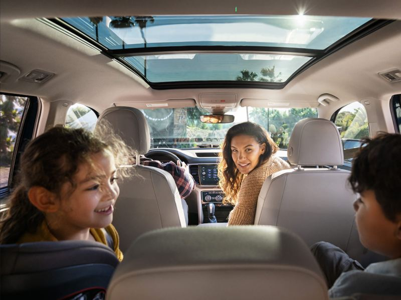 Interior shot of an entire family inside the Atlas with its vast seating space.