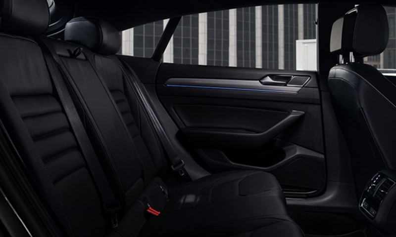 The available Titan Black leather seats in the Arteon