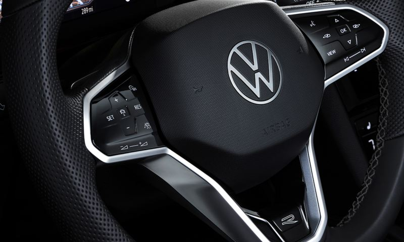 Close up of Arteon available leather-wrapped, heated multi-function touch steering wheel