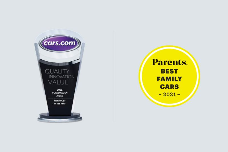 """Cars.com 2021 """"Family Car of the Year"""" trophy to the left of the circular PARENTS """"Best Family Cars 2021"""" icon, with both on a gray background."""