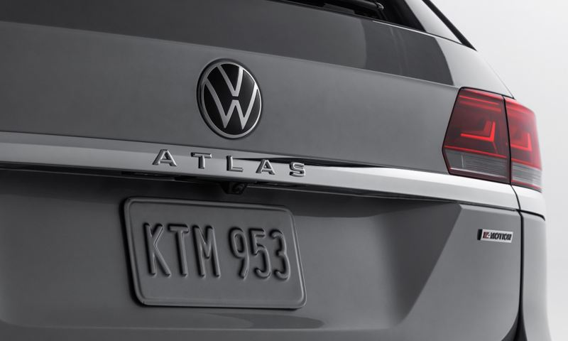 Close-up of the rear badging and taillight on the Atlas shown in Pyrite Silver Metallic.