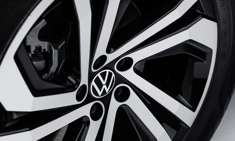 "A closeup of an available 20"" machined alloy wheel."