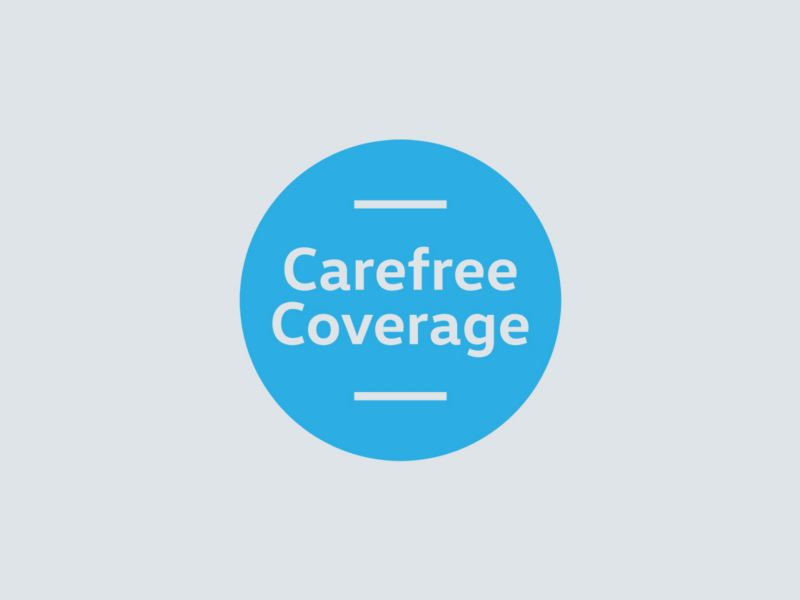 A blue circular logo depicts the Carefree Coverage program.