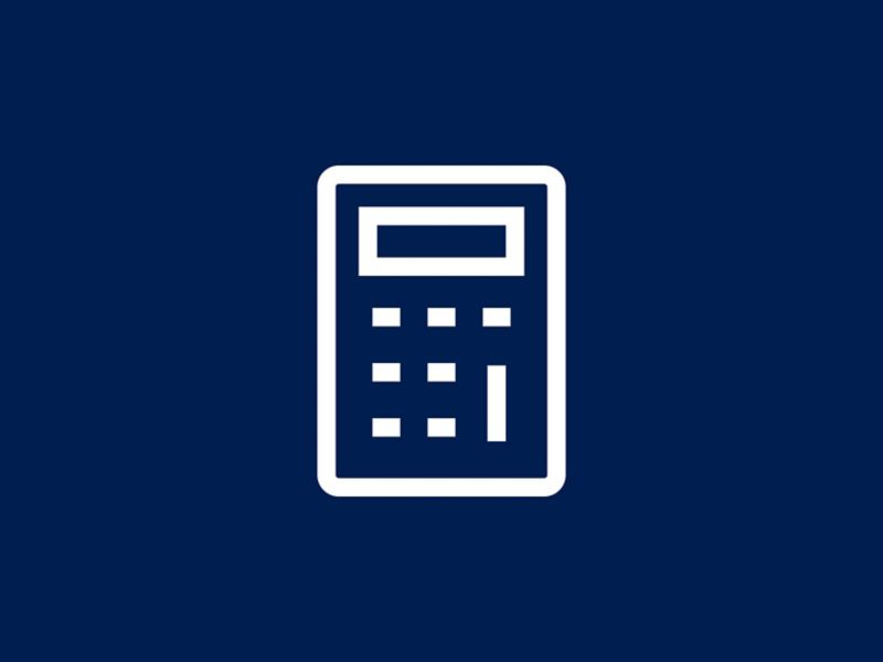 A white icon of an animated calculator.