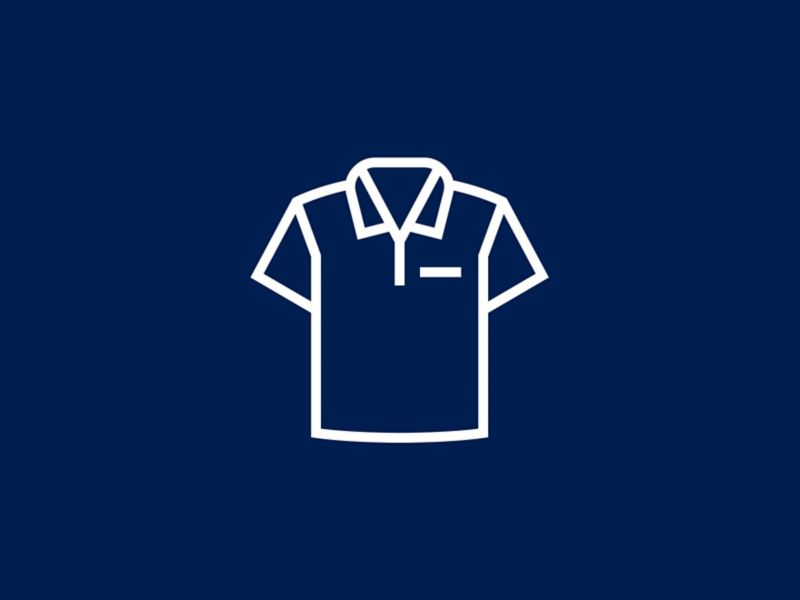 A white icon of an animated dress shirt.
