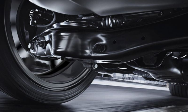 Undercarriage close-up of the Golf GTI suspension while in motion