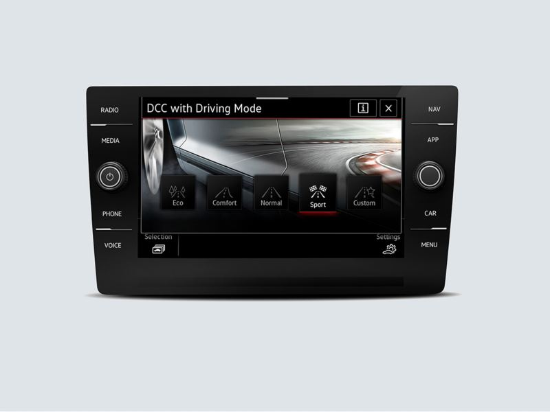 Driving Mode Selection touchscreen interface