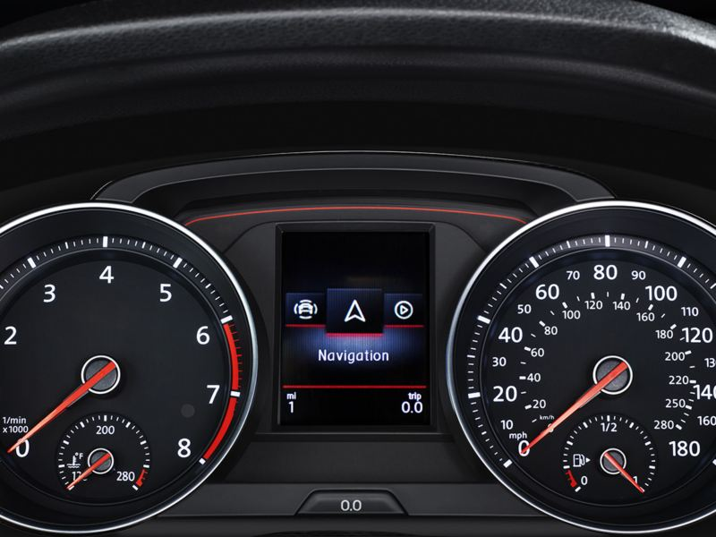 A closeup of the Golf GTI instrument cluster showing the tachometer, speedometer and premium color Multifunction Display (MFD).