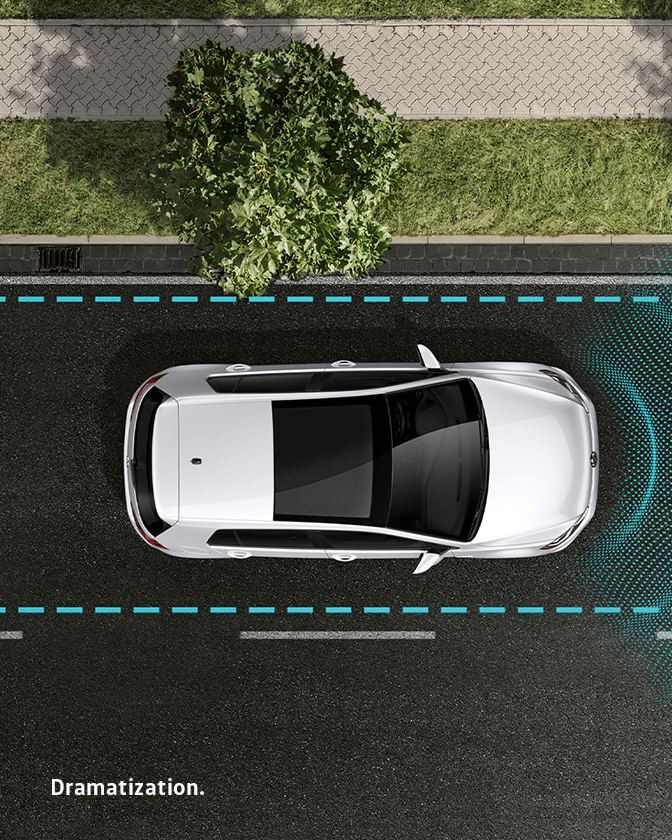 Glowing lines emit from a vehicle to illustrate distance from the car in front of it.