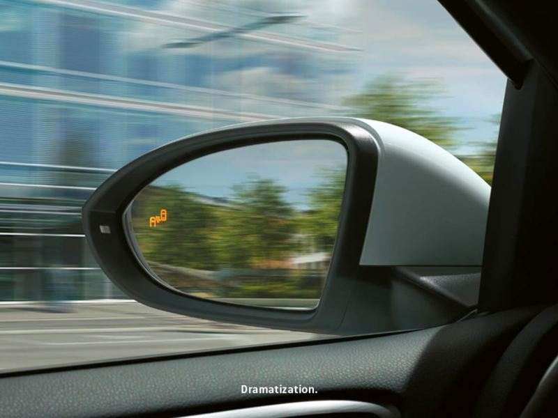 Side mirror showing Blind Spot Monitor.