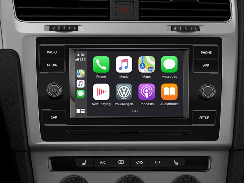 A close up of a Volkswagen touchscreen sound system.