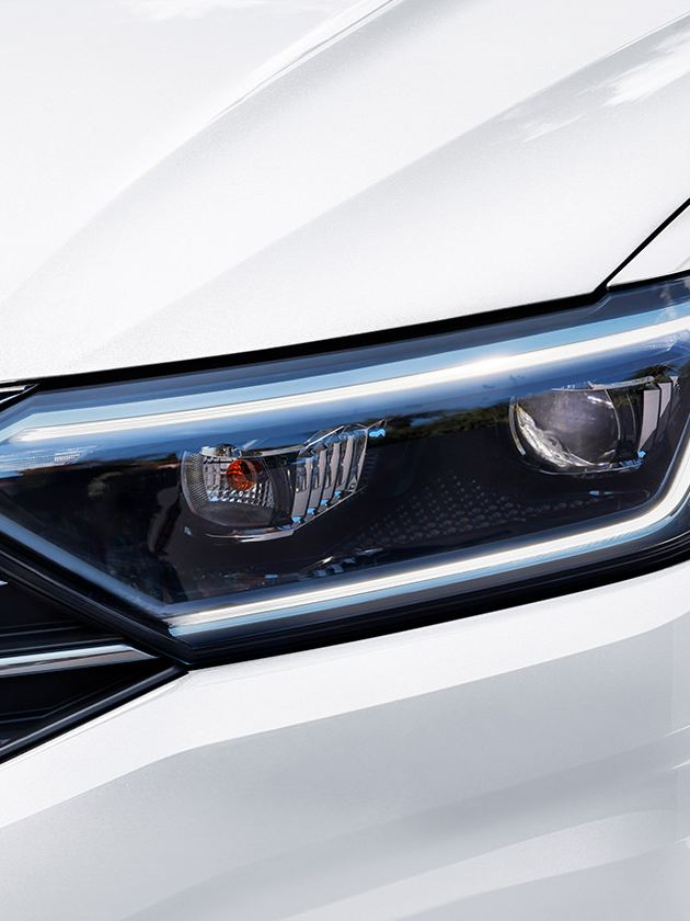 Available projector LED headlights with LED Daytime Running Lights (DRL), closeup view.