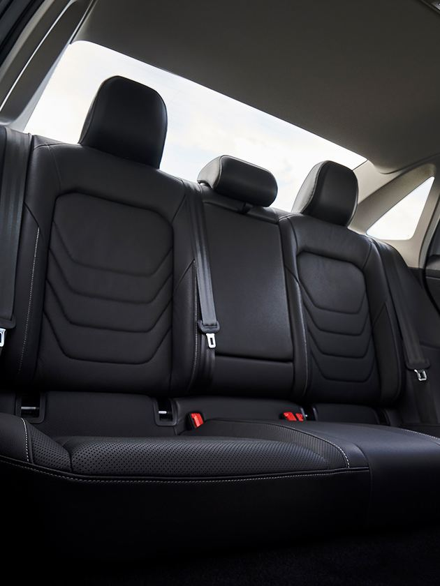 An interior view of the rear seats in available Titan Black leather.
