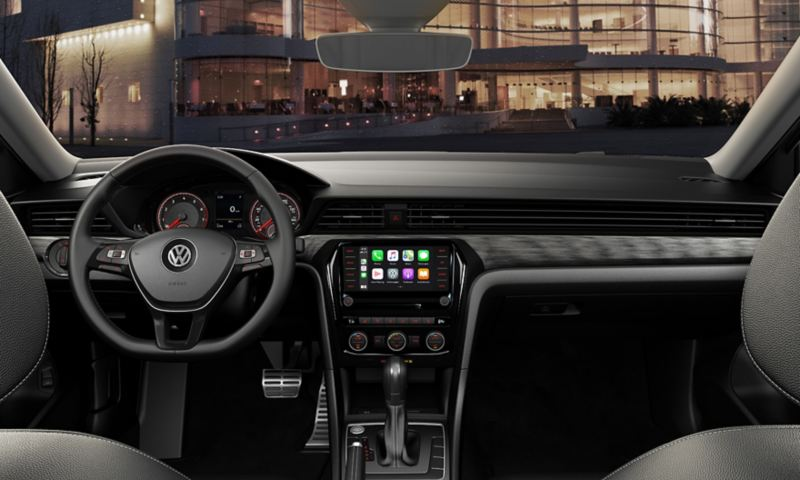 Available Titan Black V-Text leatherette interior view through windshield