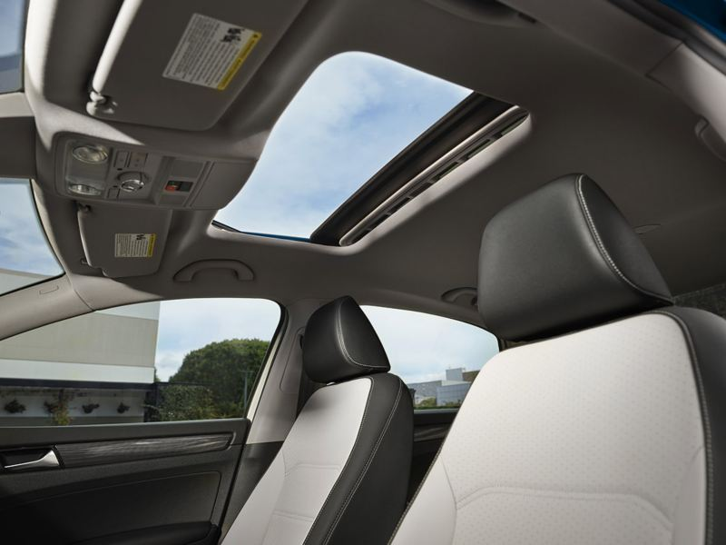 Interior view of open available sunroof