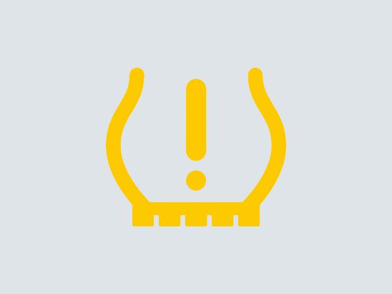 Low tire pressure alert symbol.