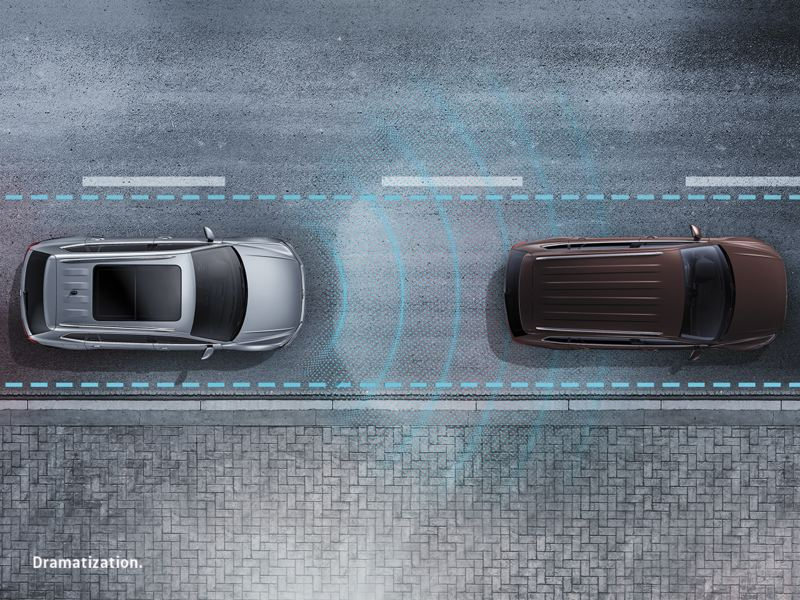 Glowing lines emit from the vehicle to illustrate distance from the car in front of it.