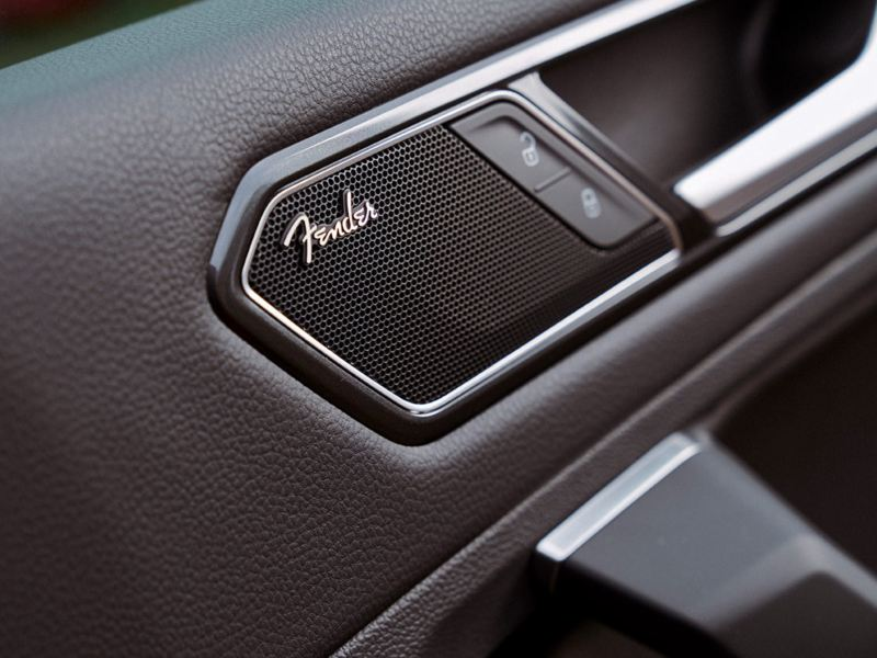 Close-up of the available Fender® Premium Audio System featured in the VW Tiguan
