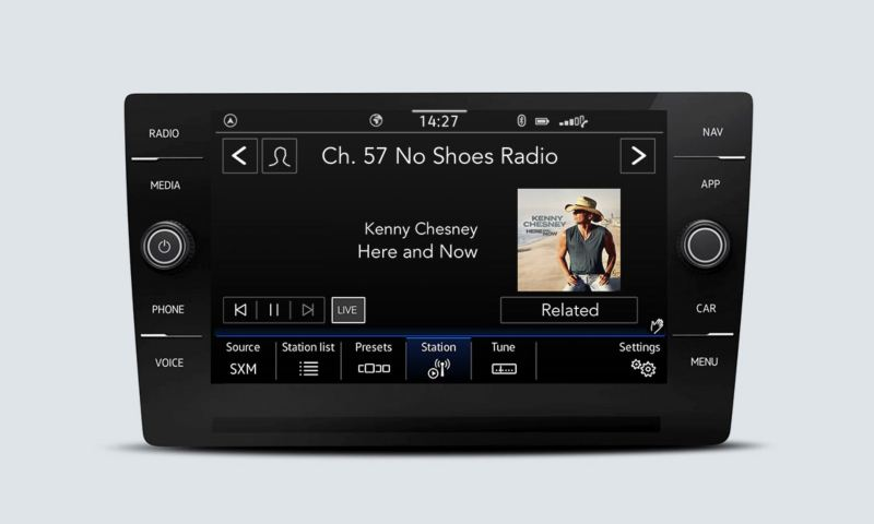 SiriusXM with 360L touchscreen interface showing the channel that is currently playing.
