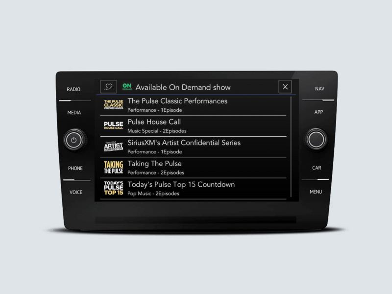 SiriusXM with 360L touchscreen interface showing Available On Demand options screen.