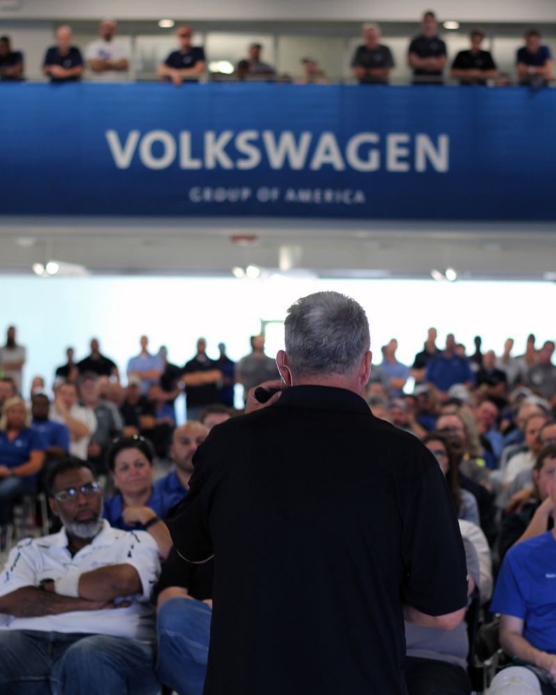 All-hands meeting at volkwagen group of America office