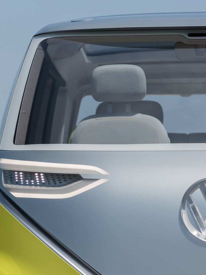 Close up of the front of an ID. BUZZ concept vehicle